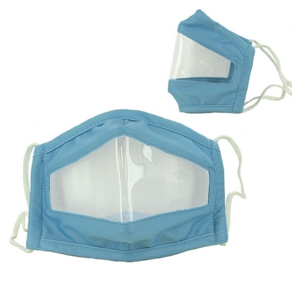 Blue Clear Visibility Deaf Mask